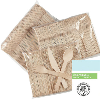Disposable Wooden Cutlery 300 pack -Forks(100), Knives(100) and Spoons(100)