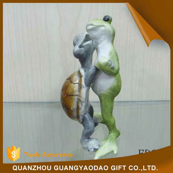 Peaceful grey turtle and green frog statue animal sculpture resin figurine