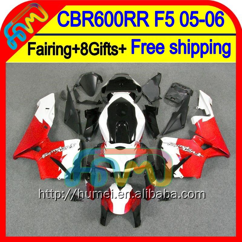 8GiftsInjection For HONDA Red white CBR 600RR 600 RR 05 06 49HM46 CBR600 RR 05-06 F5 Red black Hot CBR600RR 2005 2006 Fairing