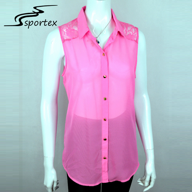 Wholesale pink fashion lapel lace lady shirt sleeveless perspective back design women blouse