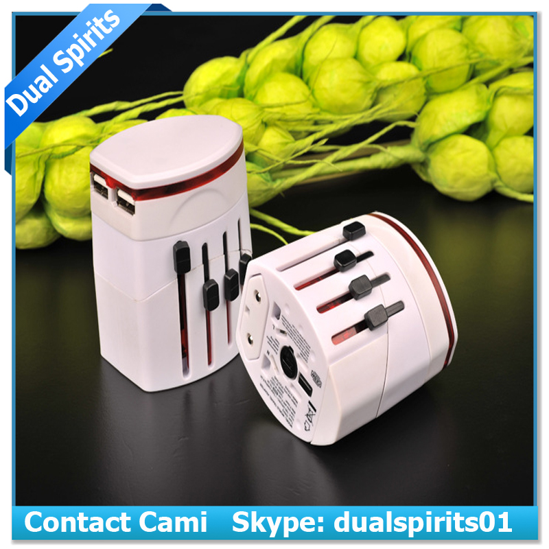 new dual usb universal travel adapter with USA/Australia/Europe/UK worldwide plugs universal travel adapter