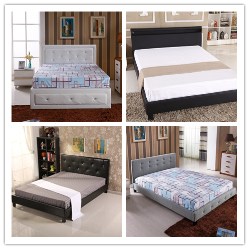 Fashionable American style wood double white leather bed room set with storage