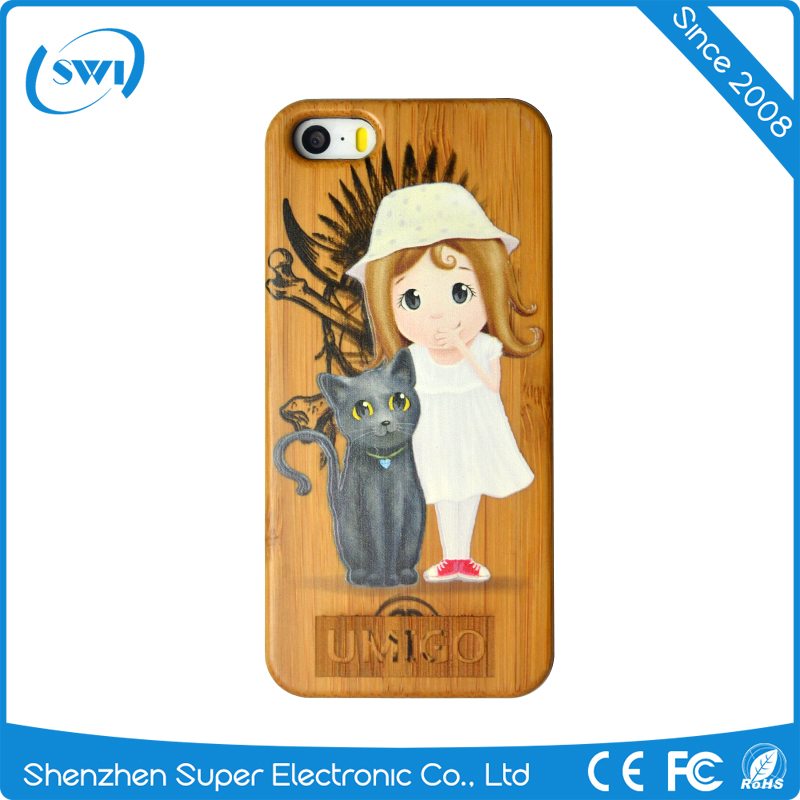 Fashion Real Wood Phone Case3D Carved Full Body Cover Wooden Case for iPhone 5/5s/SE