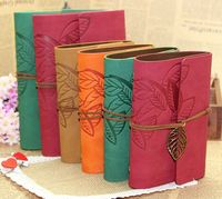 Fashion Faux Leather Cover Retro Leaf Charm Journal NoteBook Blank Diary Notepad Drawing Book Sketching Book 102*148mm