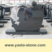 Modern Black Granite Flower Carving Tombstone Headstone