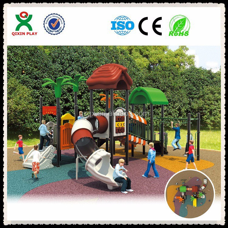 Kindergarten swing and childrens slides, cheap plastic playhouses for kids, amusement park equipment/ QX-021B