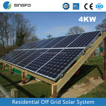 Singfo 4KW Home Grid-Tied Solar power System Roof Top Mounting Solar Energy Generating System for Home Used