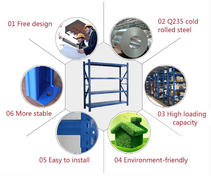 warehouse rack supplier collapsible metal storage rack 2000*600*2000*4level 300kg/level
