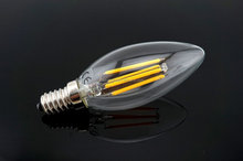 LED Candle Filament Lamp, 4-watt E14 Small Edison Screw LED (BENT TIP) Filament Light