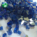 "1/2"" Caribbean Blue Metallic Tempered Fire Glass Chips"
