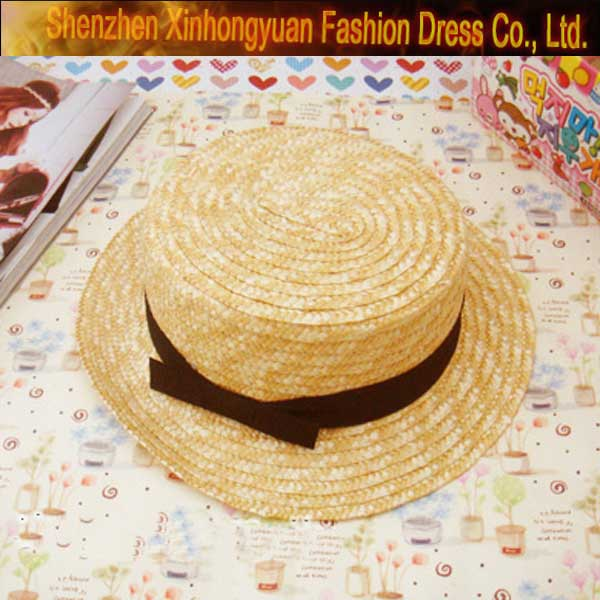 Natural ladies millinery boater straw hat