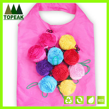 Pocket foldable shopping bags,flower shape