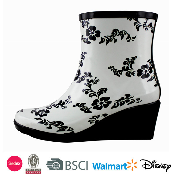 Women wedge heel rubber rain boots ankle cheap wellies