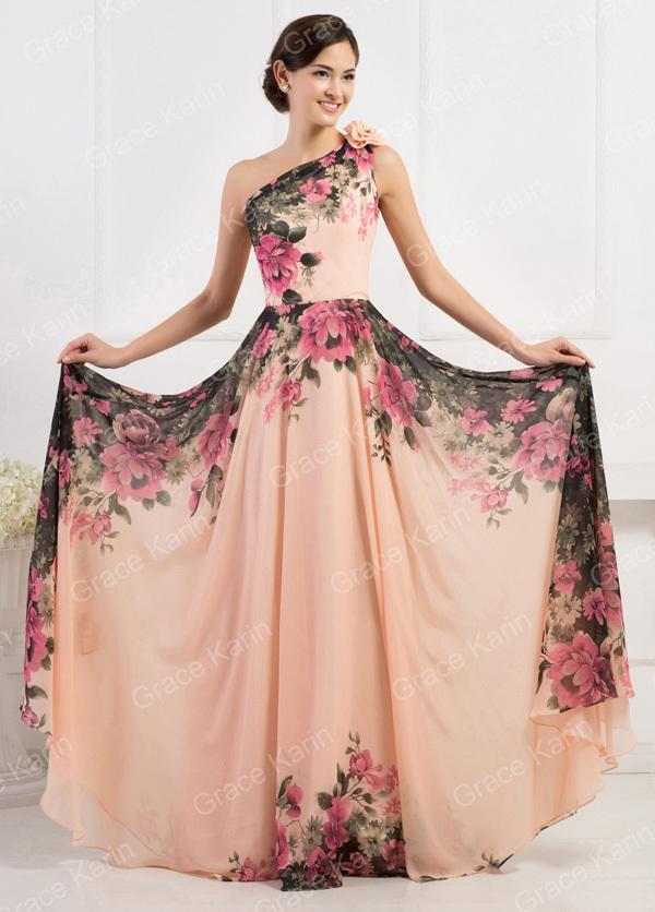 2015 Grace Karin Elegant Floral Printed One Shoulder