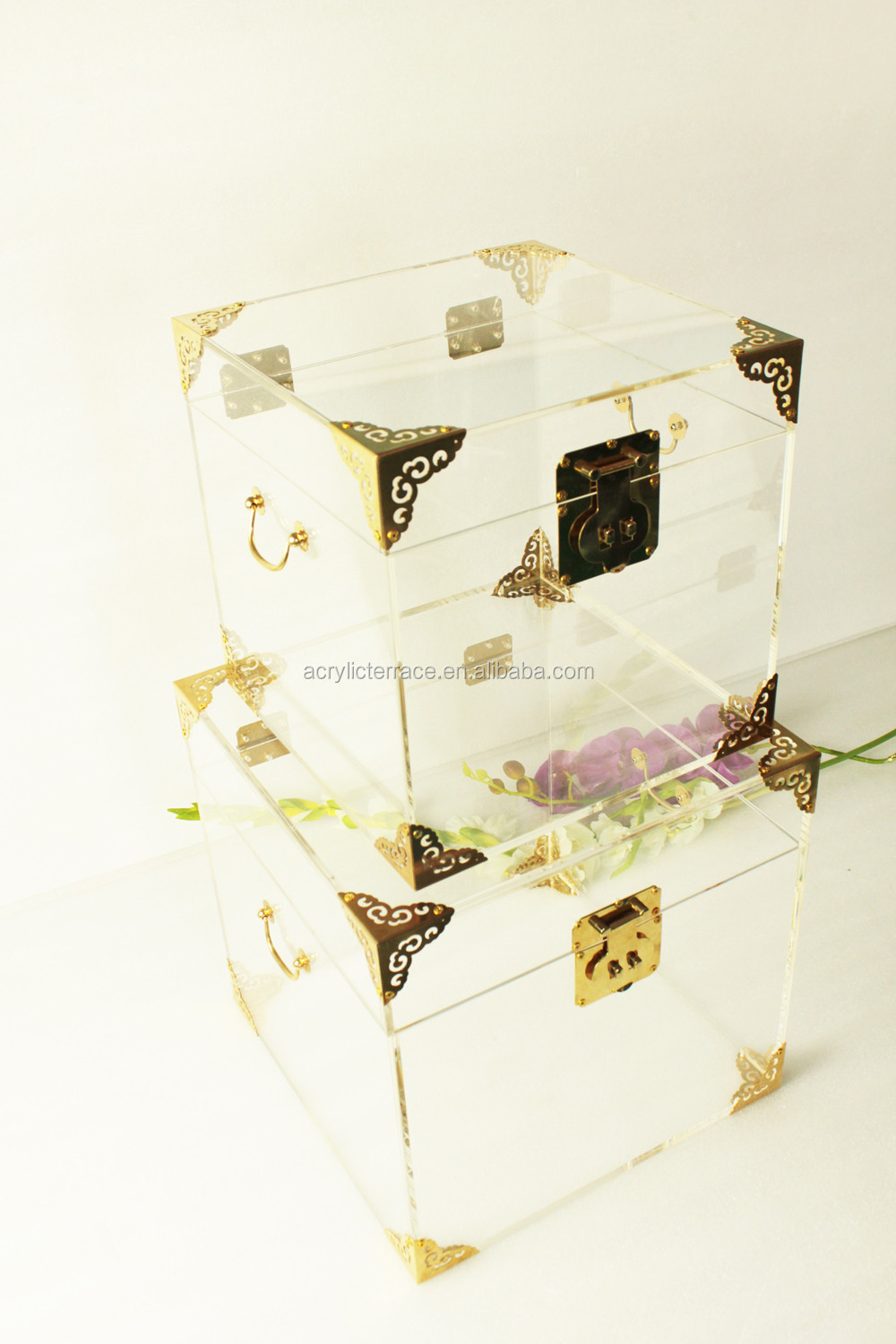 Crystal Clear Acrylic Craft Vintage Storage Trunks With Copper Protectors
