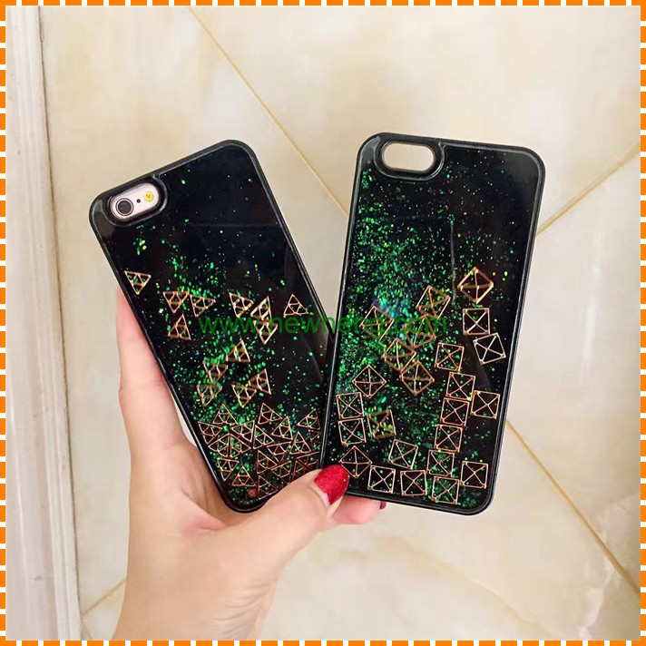 Wholesale Green emerald Quicksand liquid glitter case for iphone 7 7 plus