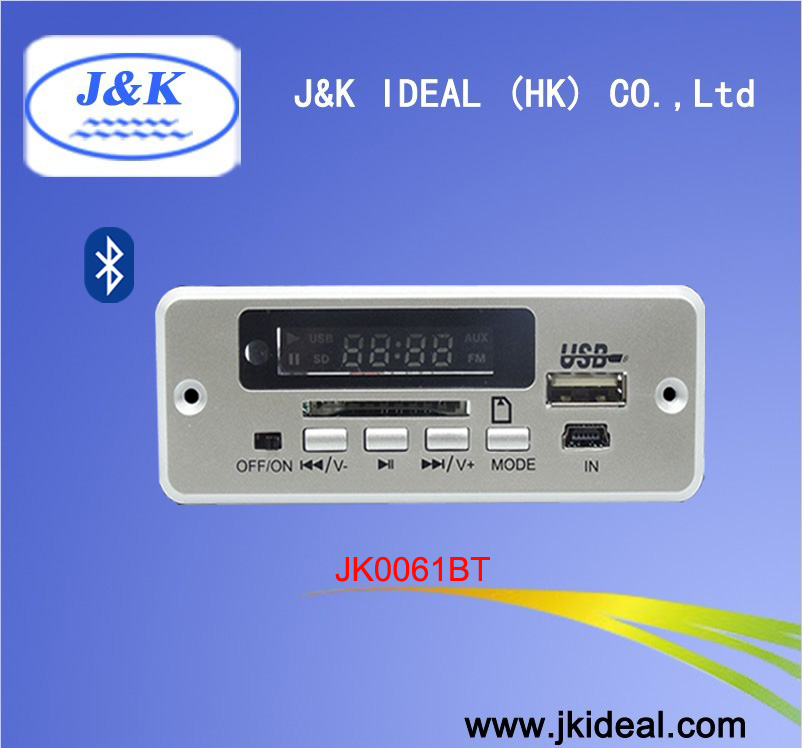 JK0061BT custom Audio usb mp3 mp4 mp5 player fm radio kit with bluetooth