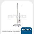 Living room furniture accessories stainless steel standing toilet set with paper holder