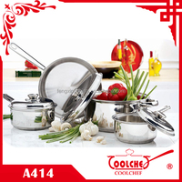 7pcs Stainless Steel Cookware Set with high ss lids