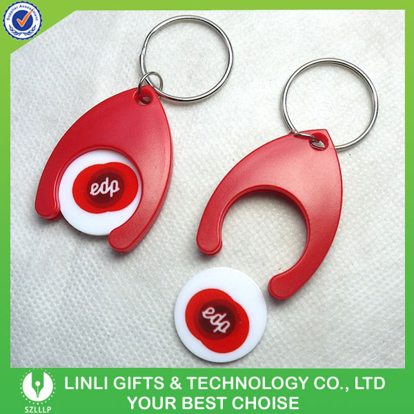 Cheap Plastic Trolley Coin Holder Key Chain with Custom Brand