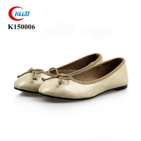 Wholesale ladies gold snake leather fashion dress ballet flats shoes