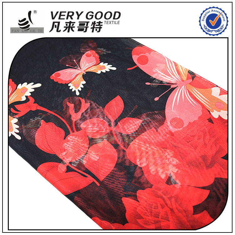 Factory direct 100% polyester chiffon printed fabric