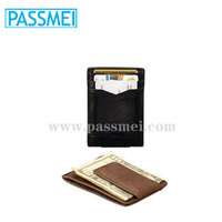 Leather Hand Crafted, Men's Money Clip mini Wallet ,ID Credit Card Holder Front Pocket Wallet