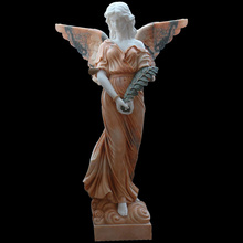European Church Sculpture Life Size Red Marble Stone Female Angel Statue