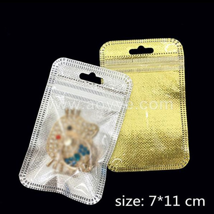 7*11cm gold silver clear self seal reclosable zipper plastic retail packaging bag, zip bag retail package with hanging hole