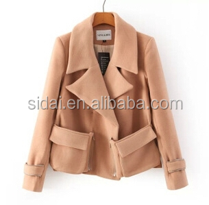 2016 new design fall winter amelie cotton wool polyester mixed overflap long sleeves romanholiday women jacket blazer