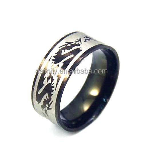 Stainless Steel Corrode Dragon totem Black band Ring for cool man