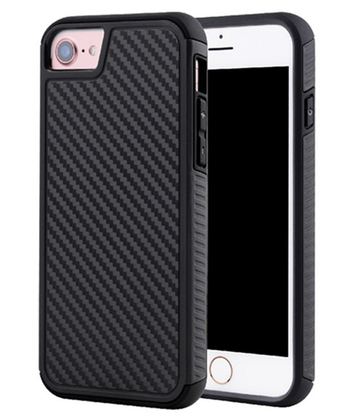 Shockproof <strong>Grain</strong> 2in1 Cover Tpu And Pc Hybrid Slim Cell Accessory Carbon Fiber Phone Case For Iphone 7