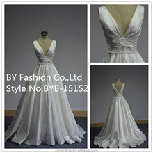 2016 Hot sale spring elegant bridal dresses V neck ball grown white wedding dress for bridal lady dress
