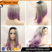 Free shipping grey and purple two tone color short BOB styles silk base brazilian hair full lace wig for women