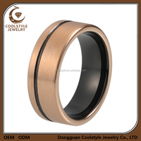 Wholesale jewelry 14K rose gold wedding bands tungsten carbide ring