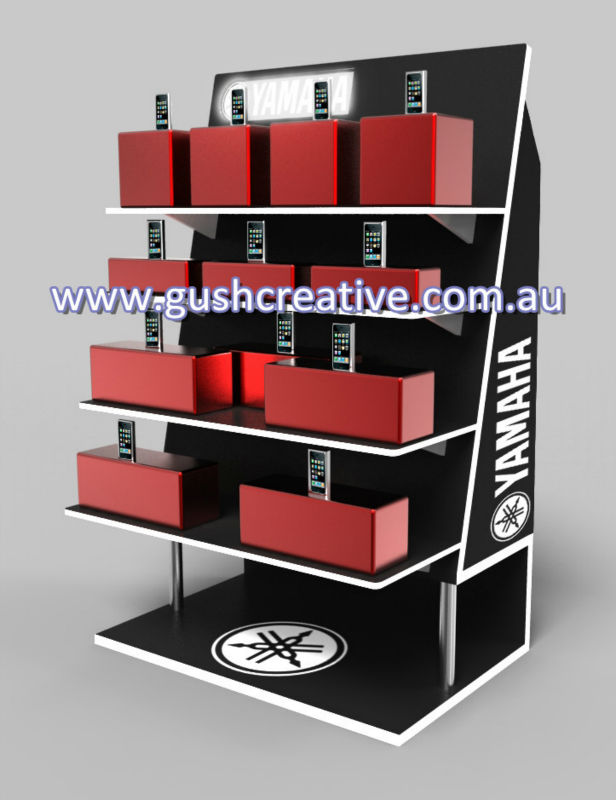 GC001 OEM Designed Floor Standing Wooden Display with LED Signage for Retail Shop