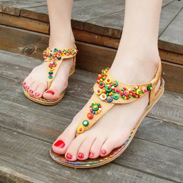 W92636A 2016 latest women sandals shoes ladies flat beaded beach sandals