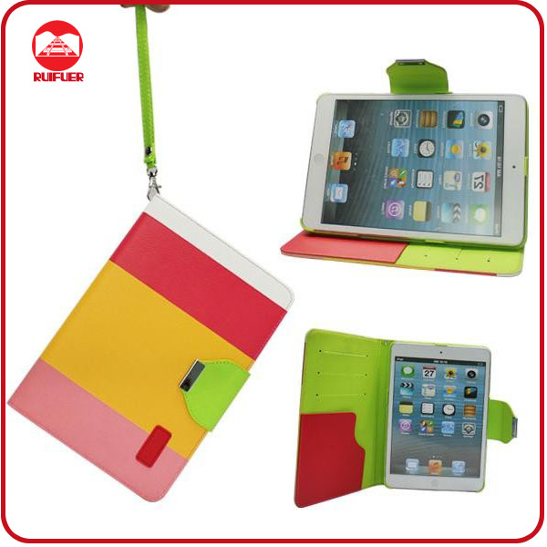 Hot Selling 3 Color Hybrid Pouch Stand With Credit Card Holder Smart Case for Ipad Mini