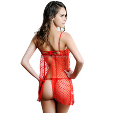 Popular design back open red hot sexy girls babydoll nighty