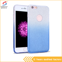 wholesale bling glitter blue color mobile phone cover case for apple iPhone 6 plus 6s plus
