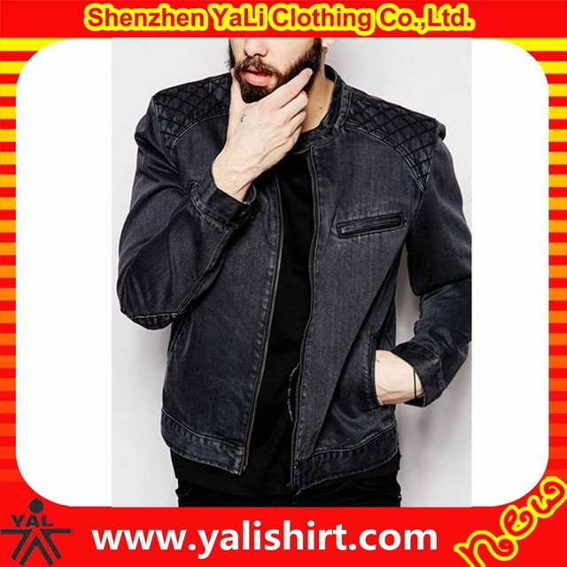 High quality oem cheap stylish biker design cotton/polyester zip opening wash quilted panel jean jacket men