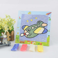 S6 hot sale diy paper indoor project pearl clay sand diamond puzzle painting craft hand drawing games girls toy kit