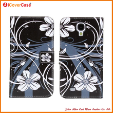 Stylish flora mobile phone printed wallet leather pouch for samsung s4 i9500