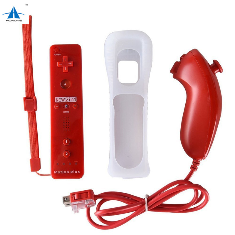 For Nintendo Wii Controller 2 in 1 Wireless Remote Controller Motion Plus Remote and Nunchuck Controller with Case and Lanyard