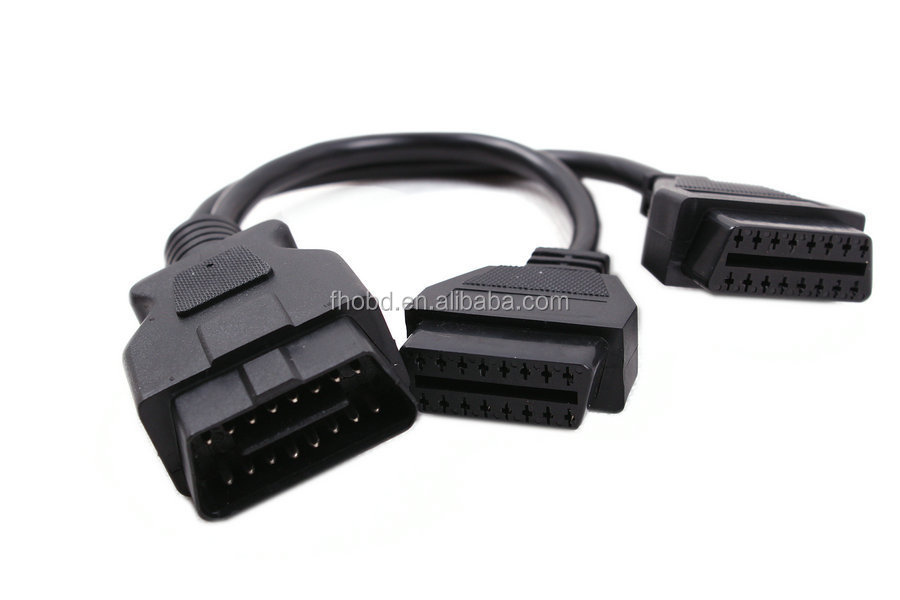 Auto Diagnostic Cables and Connectors obdII obd 2 16 pin Male to two Female obd2 16pin Cable Adaptor Adapter