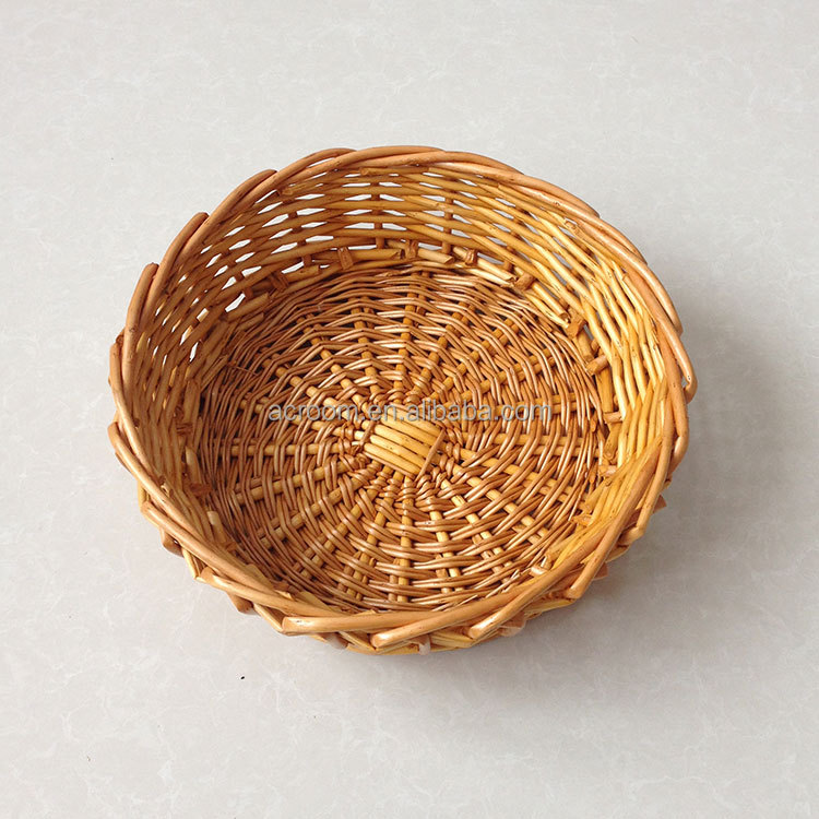Wholesale round shape rattan steamed willow wicker bread proofing basket for food