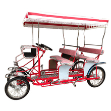 Beach Cruiser Rental Use Sightseeing Four Wheel Bike, 2 and 4 Seater Family Pedal Cycling Surrey Bike
