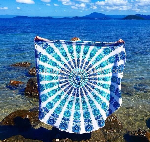 Made in China Round Beach towel with tassels from Factory