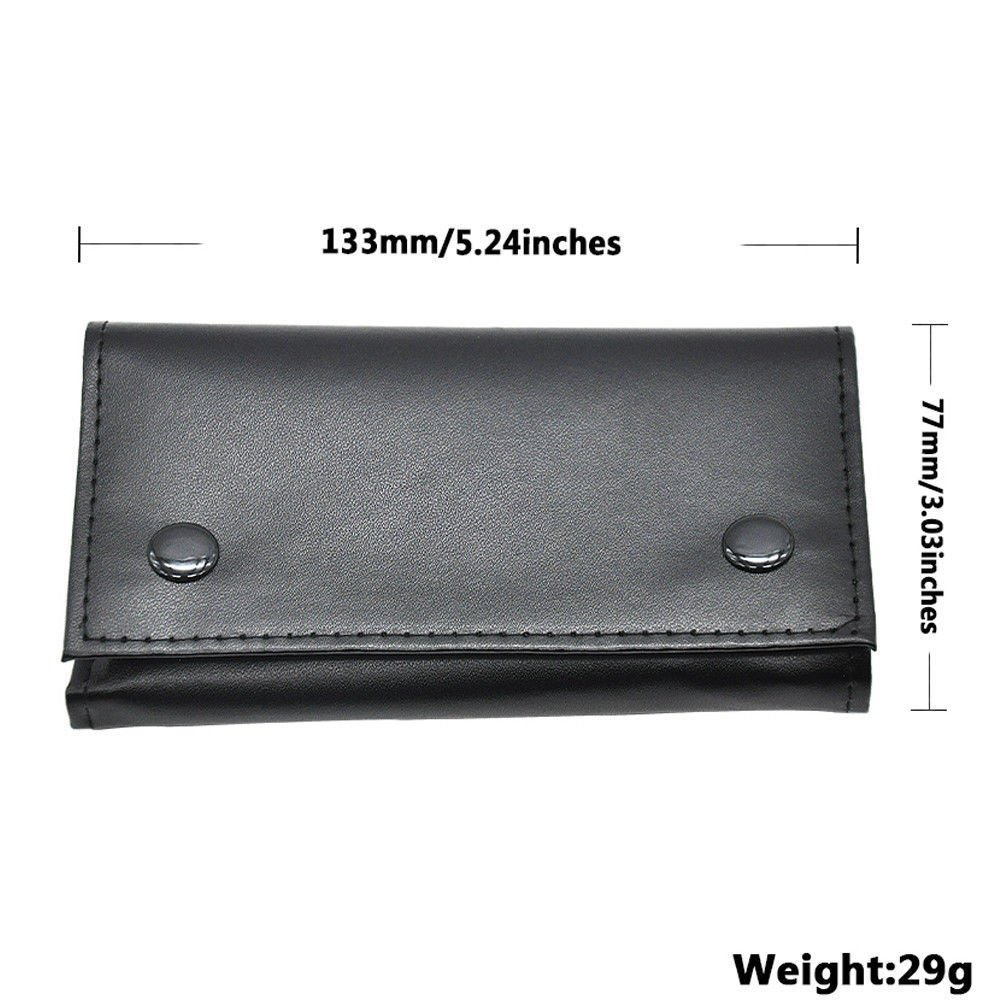 Hot Sale Portable Durable Black Roll Up Pipe Leather Tobacco Pouch