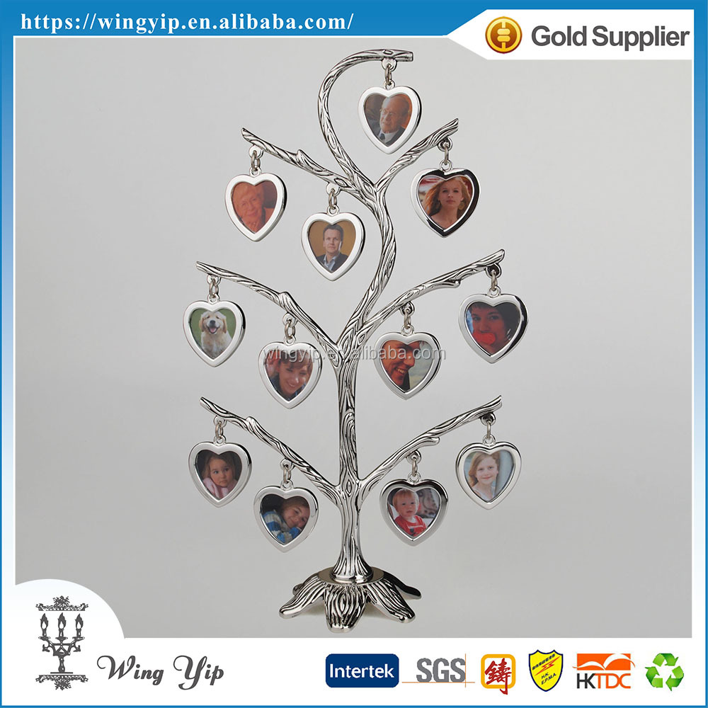 Manufacturer trendy Plain Family Tree Design Zinc Alloy Metal 12 Hanging Photo Frame
